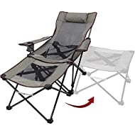 XGEAR 2 in 1 Camping Chair with Footrest Recliner Folding Chaise Lounge Chair (Footrest Can Transform to Side Table) Extra Stable, for Beach, Fishing, Picnics, Hiking