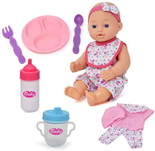 Baby Doll with Accessories Set, 12 Inch Doll with Clothes and Feeding Toys for Girls, Baby, Toddler and Boys, 12 Piece Gift Set