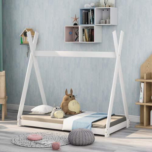 Schönes Hausbett Kinderbett, Indisches Bett Kinderhaus Massivholz Zelt Holz mit Lattenrost für Kinder- und Jugendzimmer,Weiß (140x70cm) (140x70cm)