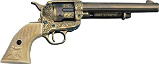 Denix Model 1873 Engraved Long Barrel Gold Finish Army Revolver with Faux Ivory Handle - Non-Firing Replica