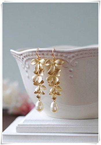 Pendientes de Novia de Larga Duración, Pendientes de Perlas de Lágrima Color Blanco Crema, con Orquídeas Doradas, Pendientes de Boda Dorados, Pendientes de Dama de Honor, Regalo de Dama de Honor