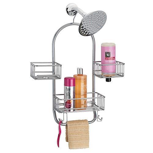 mDesign Badkamer Swing Douche Caddy voor Zeep, Shampoo, Washandjes, Loofahs ZILVER