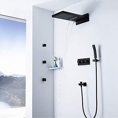 GENFALIN Baño lluvia mezclador de la ducha Conjunto de Conjunto montado en la pared ducha de lluvia cabeza Sistema de grifo de la ducha