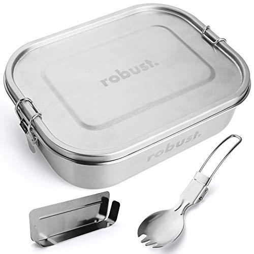 robust.® 1400 ML Edelstahl Brotdose mit Göffel - Die Lunchbox Edelstahl ist 100{8c69e8ea11a91f8ae81bff956476c8e47ce7866c28949181e6920e7bb259f03e} Auslaufsicher, Gefrierfest & Ofenfest! - Plastikfreie Bento Box Edelstahl, Nachhaltige Brotdose Edelstahl