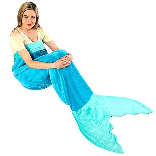 Blankie Tails - De originele zeemeermindeken - oceaanblauw / aqua - voor volwassenen / jongeren