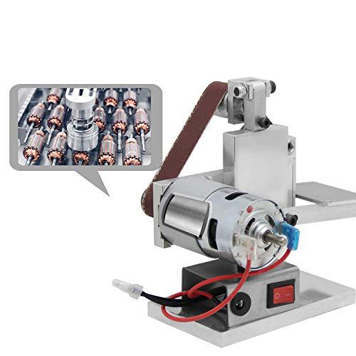 Huanyu Lijadora de Banda Mini Amoladora Esmeriladora Eléctrica de Banco con silenciar el motor & regulación de la 7-velocidad, 10ps de cinturones de arena (330 * 20 mm)