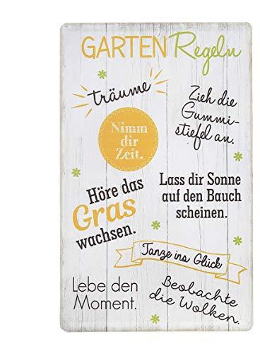 Unbekannt 1x Schild Gartenregeln Metall Höhe 30 cm farbmix, Wandobjekt, Geschenk, Wunschmodell:Links