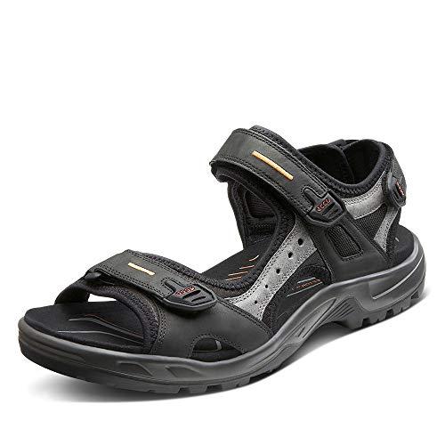 ECCO Herren OFFROAD Flat Sandal, Schwarz (BLACK/MOLE/BLACK), 45 EU