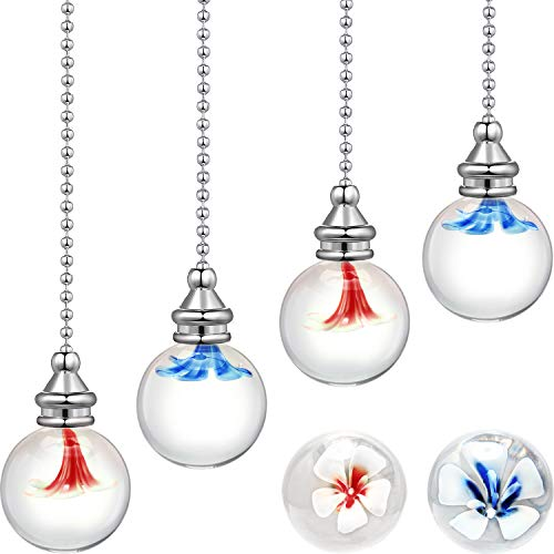 4 Pieces Crystal Ceiling Fan Pull Chains Crystal Glass Ceiling Fan Chain Extender Hanging Flowers Pendants Ornaments with Blue and Pink Decorative Flower Balls for Ceiling Lights and Fans