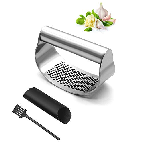 LDUDU Spremiaglio in acciaio inox inossidabile, taglia-aglio lavabile in lavastoviglie, utensile da cucina, spremiagrumi Garlic Press, argento