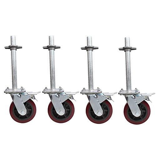 DXJL Industrie Casters 4 stuks steigers wiel 6 inch met remwiel rubberen wiel polyurethaan nylon universele wielbout Lifting steunwiel lengte 270 mm, sneeuwdiameter 30 mm A
