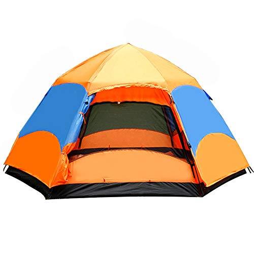 RongDuosi Oranje Snel Bouw Automatische Lente Zeshoekige Camping Tent Oversized 3-6 Personen Dubbele Account Oversized Zeshoekige Tent Outdoor Uitrusting Zwembed