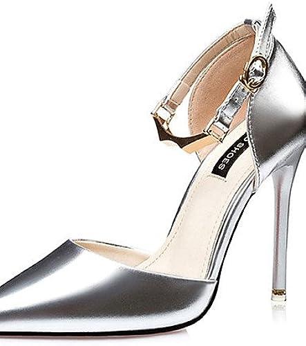 BGYHU Ggx femme Chaussures PU d'été talons talons décontracté Stiletto Talon d'autres Noir rose argenté