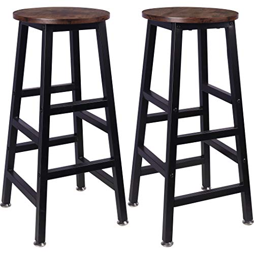 Tektalk Backless Round Bar Stools, Square Leg Vintage Rustic Brown Easy Assembly for Home Kitchen Counter - Set of 2