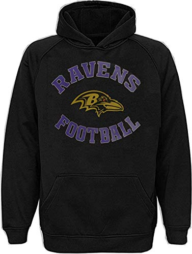 Baltimore Ravens NFL Boys Youth 4-20 Black Performance Pullover Hoodie Sweatshirt (Youth Small 8)