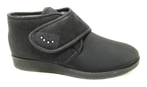DAVEMA 386 Pantofole Donna Nero, Ciabatta Chiusa Chiusura Velcro, Made in Italy