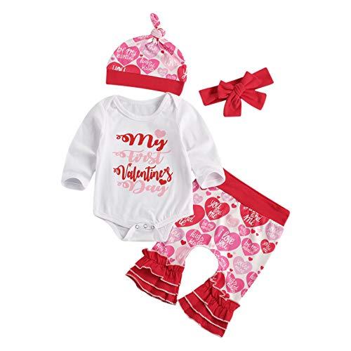 Geagodelia Conjunto de ropa de bebé para San Valentín My 1st Valentine 's Day 4 piezas de pelele de manga larga + pantalones + gorro + diadema de algodón rojo 3-6 Meses