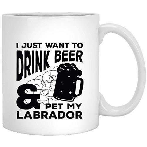 Ik wil alleen bier drinken en mijn Labrador Retriever Funny Dogs Gifts White Mug strijken