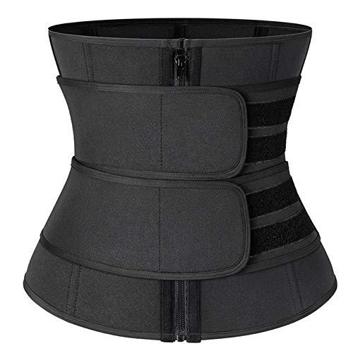 A-myt Es cómodo y suave cinturón deportivo para mujer, para pérdida de peso, cinturón de ejercicio de moda informal (color: doble velcro negro, tamaño: L)