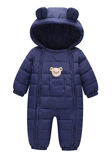 FEOYA Combinaison d'hiver en Duvet pour bébé avec Fermeture Éclair et Capuche - Bleu - S