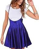 YOINS Falda Plisada de Mujer Falda Mini Skater Acampanada Vestido de Faldas de Tirantes Casuales de Moda Elástica Versátil Brillante Azul XXL