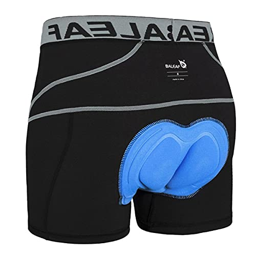 BALEAF Herren Fahrradhose Kurz Gepolstert Atmungsaktive Fahrradunterhose Coolmax 4D Gel Sitzpolster Grau L