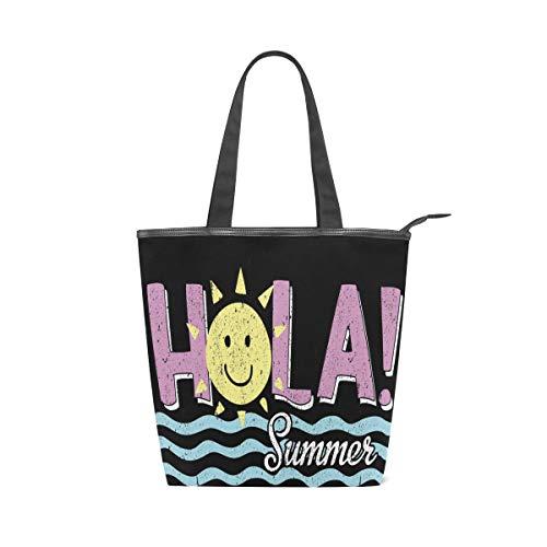 Irud Canvas Tote Bag Hola Sommer Meerwasser Hot Wiederverwendbare Schultertasche Frauen Hand Tote Einkaufstasche für Einkaufen Alltag Arbeit Schule Reisen