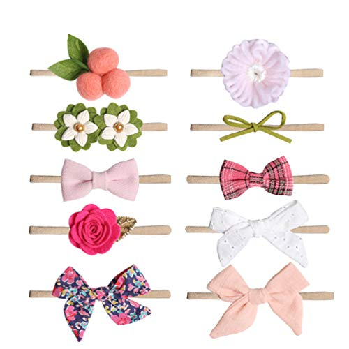 TOYANDONA 10 piezas Conjunto de diademas de flores para niña, accesorios para el cabello bowknot para regalo de bebé recién nacido o accesorios para fotos de bebé