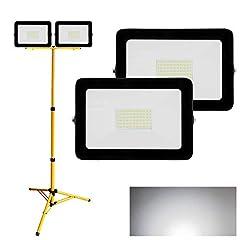 Hengda 2X LED Spotlight 50W Koud Wit + Statief schijnwerper schijnwerper IP65 Waterproof 6500K Headlight 4250LM Outdoor Spotlight Spotlight voor Yard, Tuin, Place, Warehouse, Workshop*