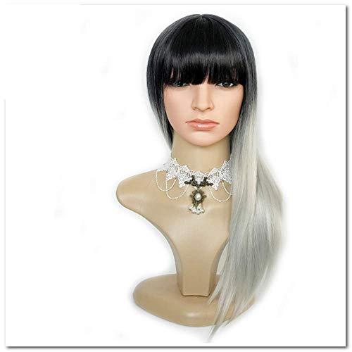 Perruque 24 Pouces Longue Ligne Droite Noir Argent Gris Ombre Perruque Bangs Pour Les Femmes Blanches Perruques Synthétiques Cheveux Naturels