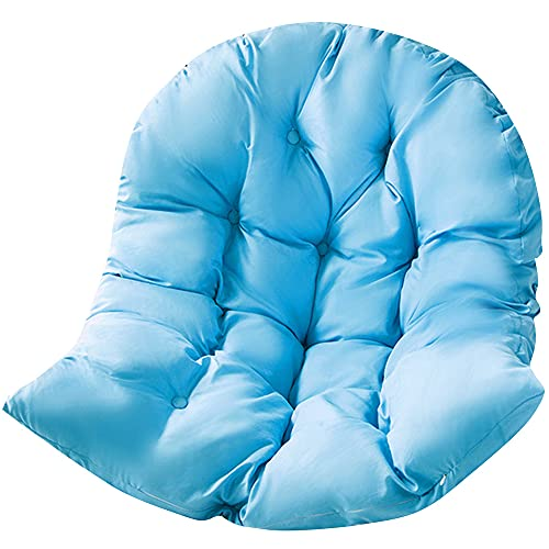 FYKJ Cojín Silla Colgante Interior Huevo, Cojín para Silla De Ratán para Jardín, Cojín para Columpio, Cojín De Silla De Cáscara De Huevo Azul