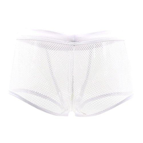 DDSCOLOUR - Calzoncillos tipo bóxer para hombre, malla transparente, ropa interior masculina blanco XL