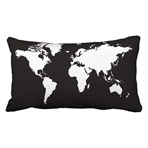 GFGKKGJFD - Fundas de cojín rectangulares personalizadas con mapa del mundo (30 x 50 cm), color blanco y negro