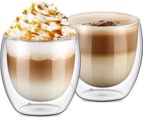 UMIGAL Doppelwandige Gläser Borosilikatglas - Für Tee, Kaffee, Latte, Cappuccino Gläser Kaffee Gläserset/Tee Doppelwandiges Café Crème- Glas Set 2-250ml (B- 2 Gläser 250ML)