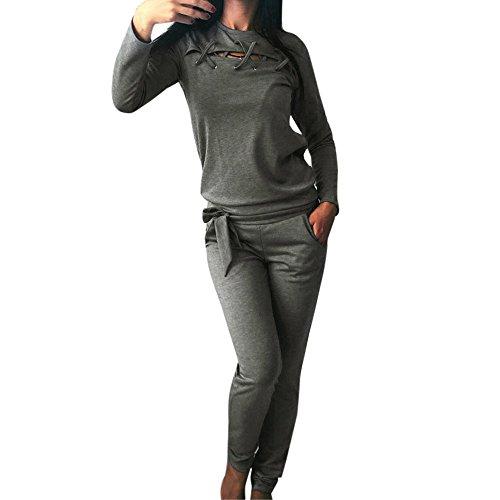 Homebaby 2 Pezzi Tuta Donna Felpa e Pantaloni Tuta da Ginnastica Donna Elegante Sportivo Estiva Ragazze Casuale Yoga Pantaloni Leggings da Jogging Fitness Sportive Abbigliamento