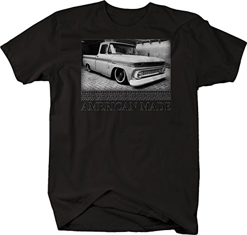 Bold Imprints Retro American Made Racing C10 60-66 Patina Lowered Graphic T Shirt for Men 3XL Black