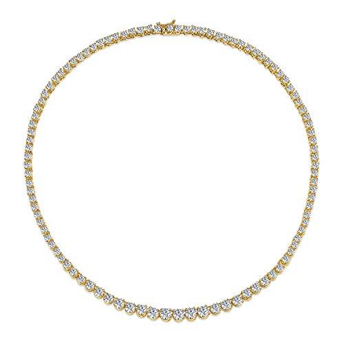 Bling Jewelry Zirkonia Absolvent Runde Solitär Statement AAA Tennis Collier Halskette Für Damen Abschlussball 14K Vergoldet Messing