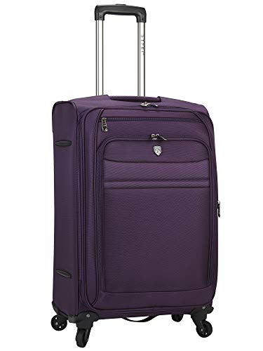 Travelers Club Business Class Expandable Spinner Luggage, Premium Purple, Checked-Medium 24-Inch