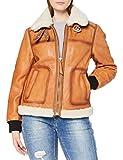 Superdry A3-Leather Chaqueta de Cuero, Tan, M para Mujer