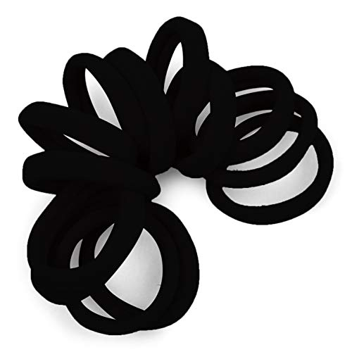 Cyndibands Gentle Hold Soft and Stretchy Seamless Elastic Nylon Fabric No-Metal Ponytail Holders - 12 Hair Ties (Black)