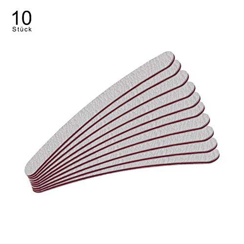 N&BF 10er Set Profi Nagel Feile gebogen Zebramuster weiß | Formfeile für Gel- und Naturnägel | Weiß | Körnung 100/180 Sandpapier | Einweg Nagel Feilen | für die perfekte Mani- und Pediküre