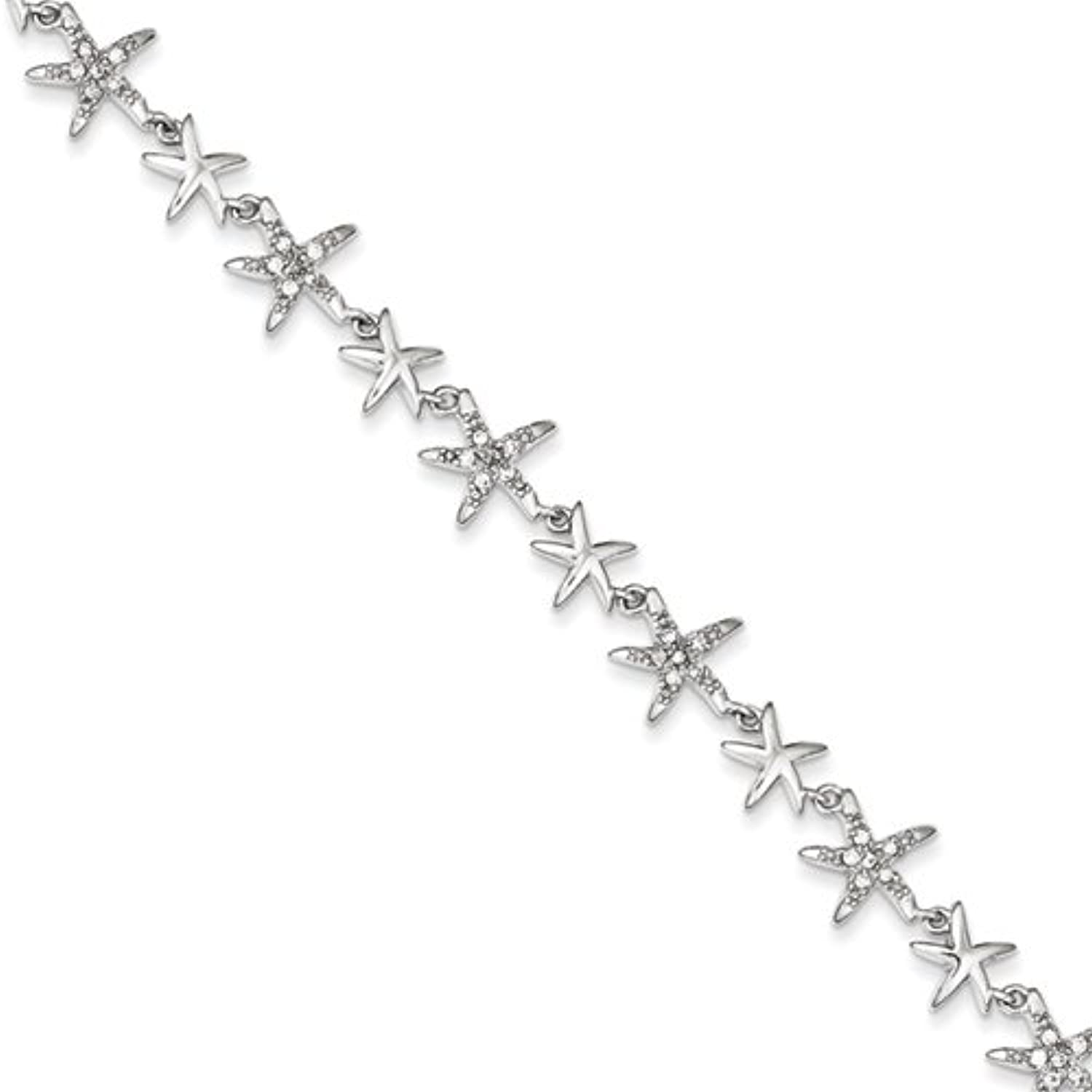 gold and Watches Sterling Silver 7.25in Alternating Polished & CZ Starfish Link Bracelet