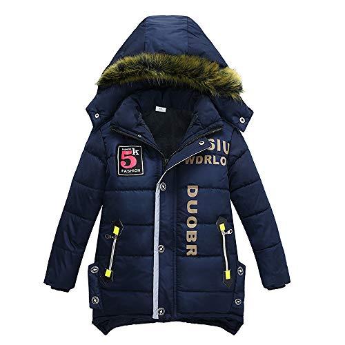XXYsm Mantel Winter Kinder Junge Jacke Jacke Warme Outwear Mit Kapuze Steppjacke Coat Kapuzenmantel Dunkelblau 130/6-7 Jahre