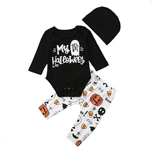 Geagodelia Abiti di Halloween da Neonato Il Mio 1 ° Pagliaccetto di Halloween Body di Zucca Fantasma Stampa Set di Abiti da Bambini Pantaloni + Top Maniche Lunghe