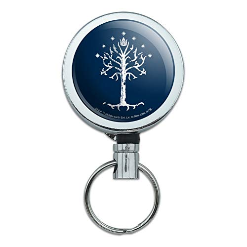 Lord of The Rings Tree of Gondor Heavy Duty Metal Retractable Reel ID Badge Key Card Tag Holder with Belt Clip