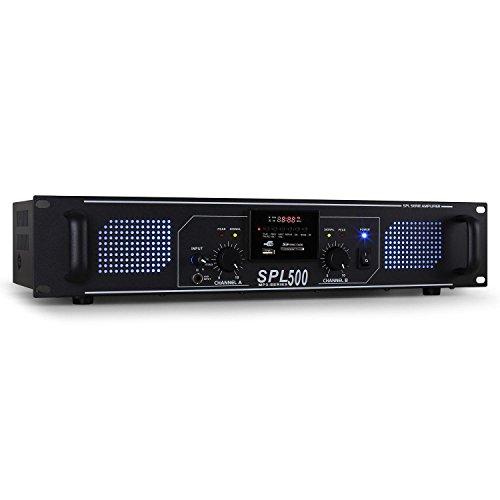 Skytec SPL-500 Amplificador PA (2 x 250W potencia, USB, SD, Radio FM, entrada auxiliar, 3x linea para MP3, pc o reproductor de CD, iluminacion Led azul)