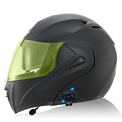 ZPTTBD Casco de Moto Modular Bluetooth Integrado con Doble Anti Niebla Visera Cascos de Motocicleta ECE Homologado a Prueba de Viento para Adultos Hombres Mujeres (Color : G, Size : (S=55-56CM))