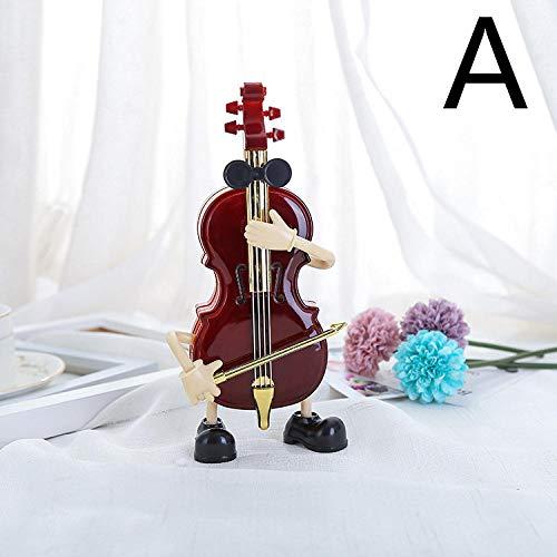 YUQZYT Escultura Abstractaresina Estatuascello Guitarra Cartoon Music Box Decoración del Hogar Regalo para Niña
