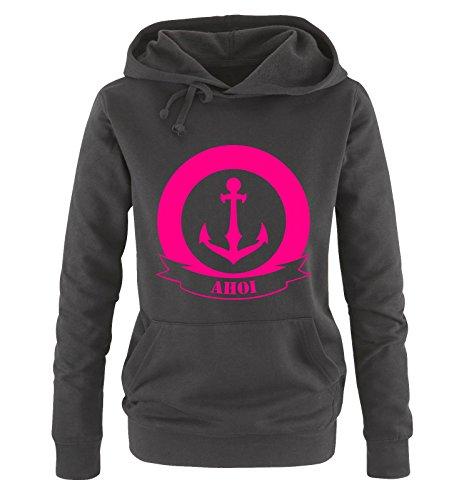 Comedy Shirts AHOI Anker - Damen Hoodie - Schwarz / Pink Gr. XXL