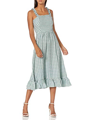 SUGARLIPS Women's Gingham Print Ruffle Detail Smocked MIDI Dress, SAGE, SMALL